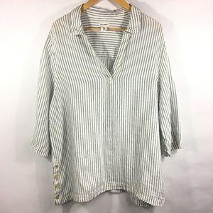 Artisan NY 100% Linen Tunic Shirt Stripe 3/4